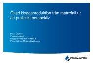 Ökad biogasproduktion från matavfall ur ett praktiskt perspektiv - Jti