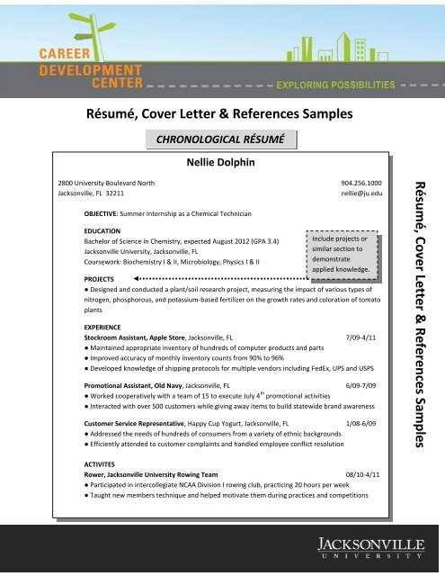 Résumé, Cover Letter & References Samples - Jacksonville University