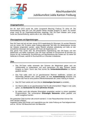 Abschlussbericht Jubiläumsfest Jubla Kanton Freiburg - Jungwacht ...