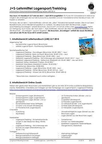 J+S-Lehrmittel Lagersport/Trekking - Jungwacht Blauring Schweiz