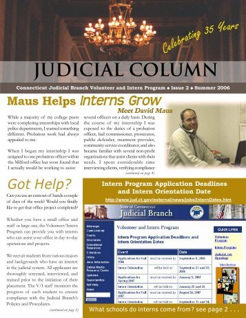 Volunteer/Intern Program Judicial Branch, Summer2006, 2nd Issue