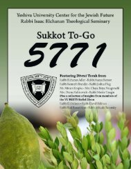 YESHIVA UNIVERSITY • SUKKOT TO-GO ... - YU Torah Online