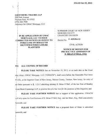 October 25, 2012 - Motion to Admit Pro Hac Vice - New Jersey Courts