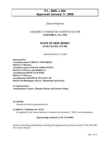 amends states guardianship law new jersey courts