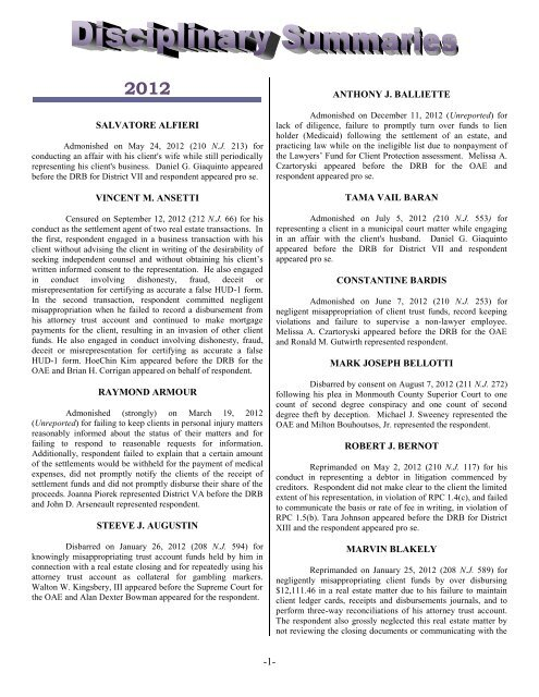 OAE Disciplinary Summaries - New Jersey Courts