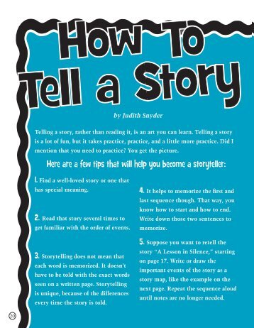 HowToTell a Story. - Judith Snyder