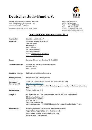 Ausschreibung - Deutscher Judobund eV