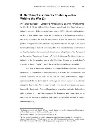 8. Der Kampf als inneres Erlebnis1 — Re- Writing the War (2).