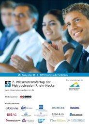 7. Wissenstransfertag der Metropolregion Rhein ... - Juergen Daum