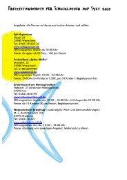 Freizeitangebote für Schulklassen auf Sylt 2010 - Jugendseeheim ...