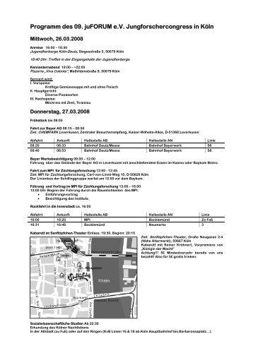 Programm des 09. juFORUM e.V. Jungforschercongress in Köln