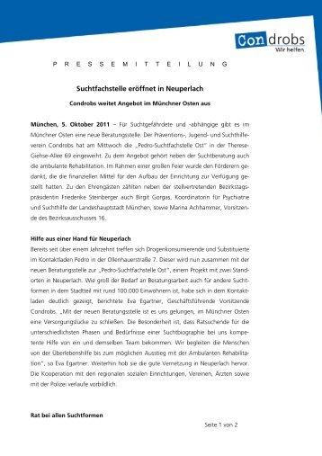 Suchtfachstelle eröffnet in Neuperlach - Condrobs e.v.