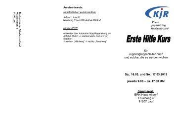 ca. 17.00 Uhr - Jugendarbeit in Mittelfranken