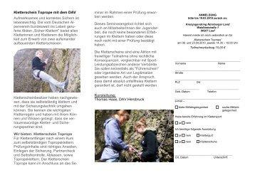 Kletterschein Toprope - Jugendarbeit in Mittelfranken