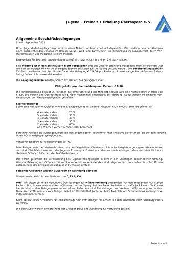 Jugend – Freizeit + Erholung Oberbayern e. V. Allgemeine ...