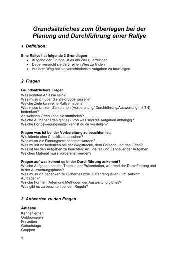 Grundsätzliches zum Überlegen bei der Planung ... - Jugend.rlp.de