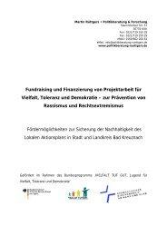 Fundraising und Finanzierung von Projektarbeit für Vielfalt, Toleranz ...