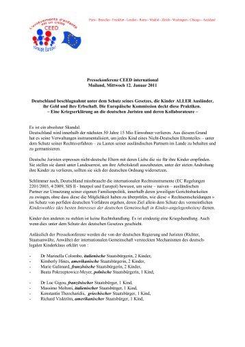 Pressekonferenz CEED international Mailand, Mittwoch 12. Januar ...