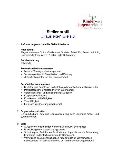 Stellenbeschreibung Hausleiter - Kommunale Jugendarbeit ...
