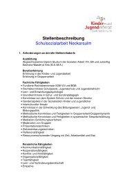Stellenbeschreibung Schulsozialarbeit - Kommunale Jugendarbeit ...