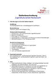 Stellenbeschreibung Kulturarbeit - Kommunale Jugendarbeit ...