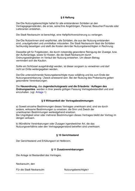 Nutzungsvertrag - Kommunale Jugendarbeit Neckarsulm