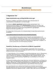 Richtlinien MJA NSU - Kommunale Jugendarbeit Neckarsulm