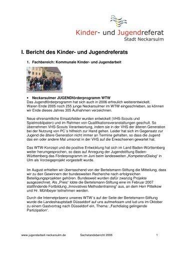 Sachstandsbericht 2006 - Kommunale Jugendarbeit Neckarsulm