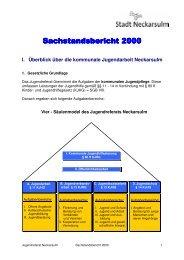 Sachstandsbericht 2000 - Kommunale Jugendarbeit Neckarsulm