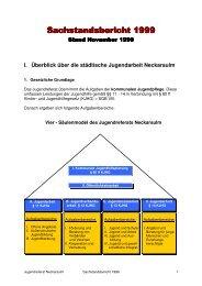 Sachstandsbericht 1999 - Kommunale Jugendarbeit Neckarsulm