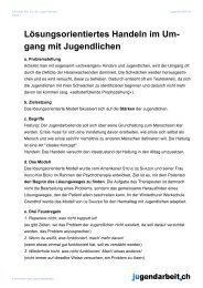 Lösungsorientiertes Handeln im Umgang mit ... - Jugendarbeit.ch