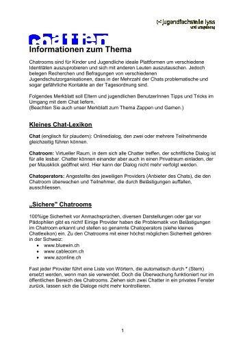 Merkblatt Chatten - Jugendfachstelle Lyss und Umgebung