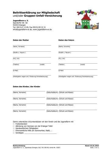 Beitrittserklärung zur Mitgliedschaft / Verein - Jugendfarm Erlangen