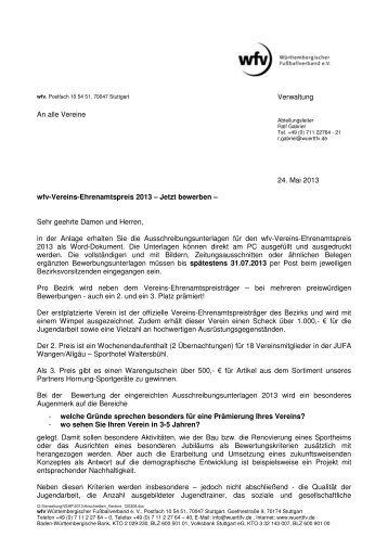 Vereins-Ehrenamtspreis 2013 - Jugendfußball Bezirk Schwarzwald