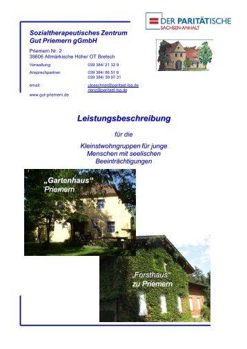 "Leistungsbeschreibung ""Gartenhaus"" & ""Forsthaus"" - Gut Priemern"