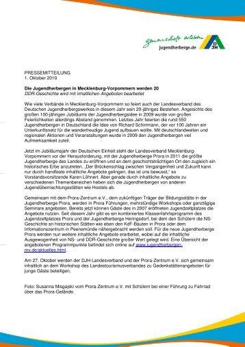 Die Jugendherbergen in Mecklenburg-Vorpommern werden 20