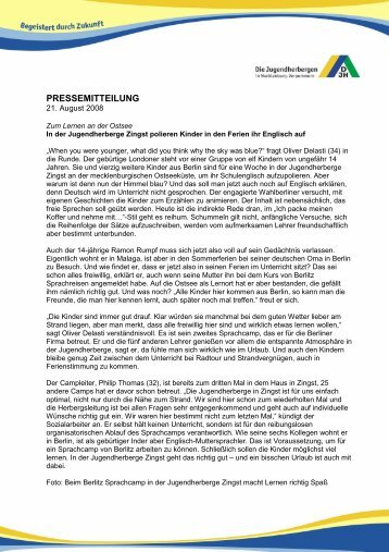 PRESSEMITTEILUNG - DJH Jugendherbergen Mecklenburg ...