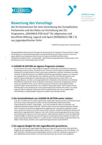 Bewertung des Vorschlags - Jugendpolitik in Europa
