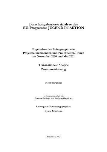 Transnationale Analyse - JUGEND für Europa