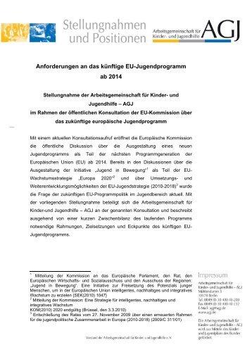 Anforderungen an das künftige EU-Jugendprogramm ab 2014