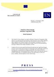 Ninth EU-China Summit Helsinki 9 September 2006 Joint Statement