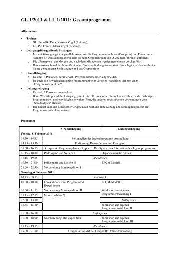 Gesamtprogramm - Internationale Jugendprogramm