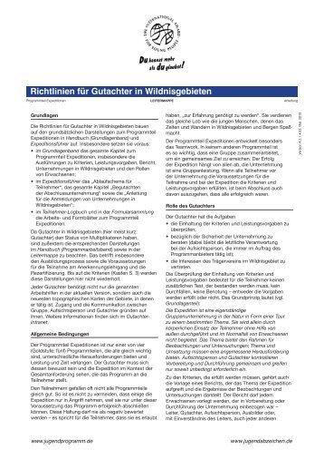 Richtlinien für Gutachter in Wildnisgebieten