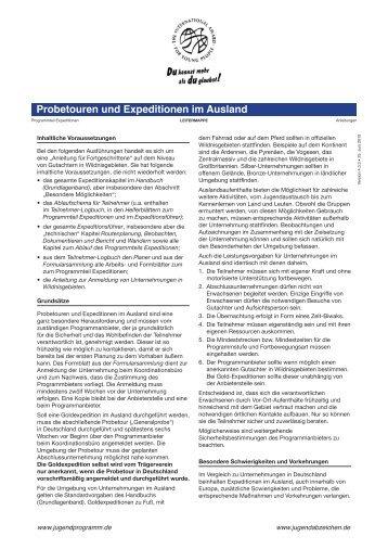 Probetouren und Expeditionen im Ausland