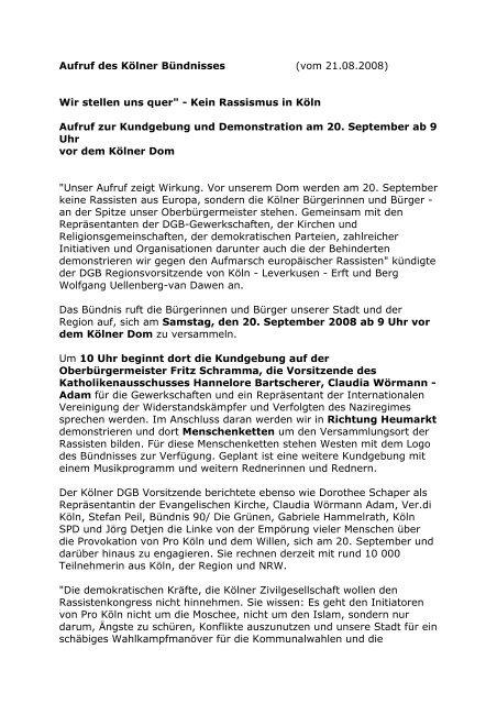 Aufruf des Kölner Bündnisses (vom 21.08.2008) Wir stellen uns quer ...