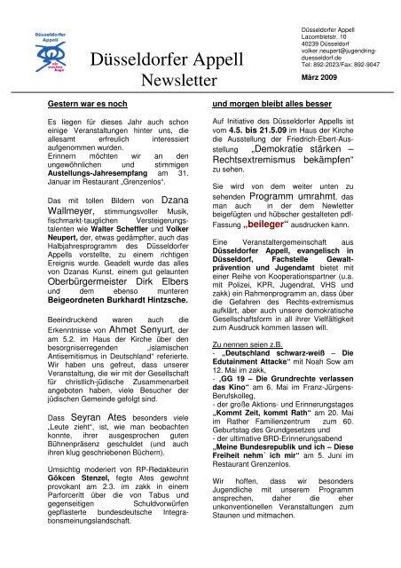 Newsletter 03 09 - Jugendring Düsseldorf