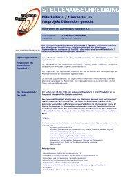 Stellenausschreibung Fanprojekt 2013 - Jugendring Düsseldorf
