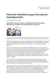 Platzende Seifenblasen gegen Kürzung der Jugendpauschale, SZ ...