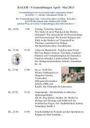 KALEB - Veranstaltungen April - Mai 2013