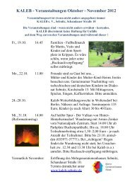 KALEB - Veranstaltungen Oktober - November 2012